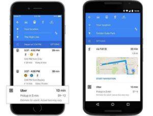 Uber si aggiorna: su Google Maps sarà possibile prenotare corse e ristoranti
